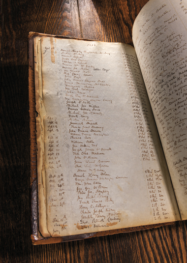 Pages from the Boston College Student Register (1864–98) started by Robert Fulton, SJ, on September 5, 1864, handwritten, ink on paper, 8 x 13 inches, red-leather binding, Boston College Archives, Burns Library.