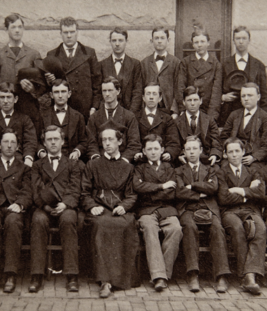 A science class taught by Joseph Ziegler, SJ (front row, in cap), spring 1882. Photograph: Courtesy Georgetown Special Collections