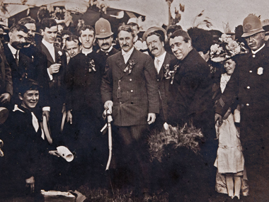 Chestnut Hill Campus groundbreaking, 1909. Gasson is the second man from right. Photograph: Courtesy John J. Burns Library Archive.