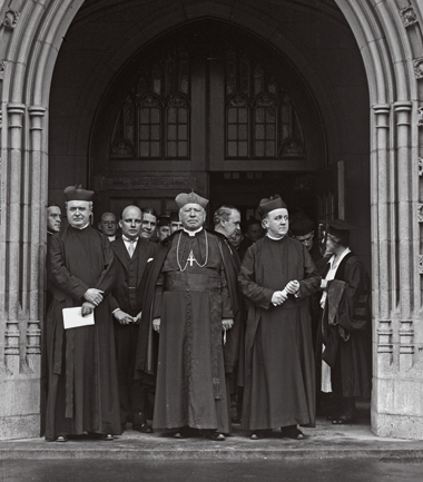 O'Connell (center) at the 1930 Commencement. At right is President James H. Dolan, SJ. Photograph: Courtesy Leslie Jones Collection, Boston Public Library