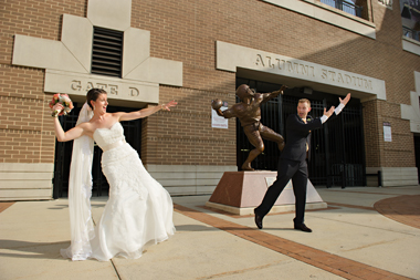 Christianne Sharr '08 and Nick Herbold '07. Photograph: Courtesy The Feds Weddings