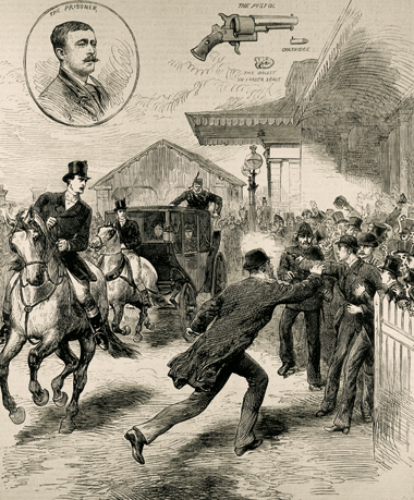 Assassination attempt number eight, Maclean's gunshot, as rendered in the Illustrated London News, March 11, 1882. Illustration: The Bridgeman Art Library/Getty Images