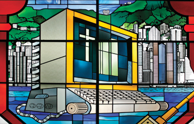 Stained-glass window (detail), Hong Kong. Photograph: © Castello-Ferbos/Godong/Corbis