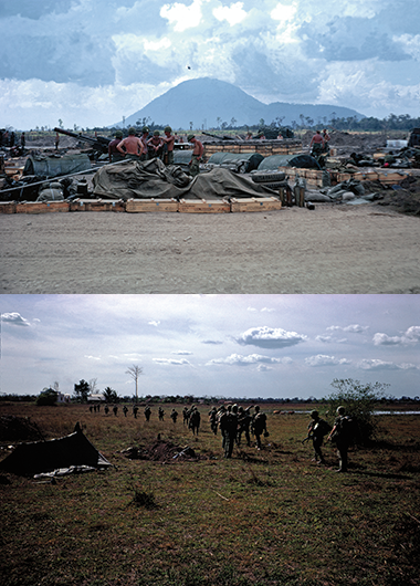 Top: Black Virgin Mountain (Núi Bà Đen) in Tây Ninh Province, as seen from an American fire base. Bottom: A platoon heading out for a nighttime patrol in Tây Ninh. Photographs: Courtesy of Robert Tortolani. Click images to enlarge.