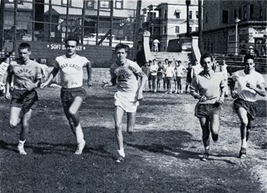 Fitzgibbons (center) at 16, training with the Central Catholic High School cross-country team in the fall of 1962. Terry Flynn is to his right. Photograph: Courtesy of Terry Flynn. Click image to enlarge.