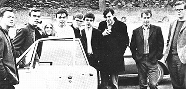 From left: Gundersen, Hayden, Downs (née Flagg), Peter Lareau, Jay Bryant, Richard Lareau, Michael Greene, McGough, and Kiley beside their station wagon on the Chestnut Hill Campus on March 16, the day they left for Selma. Photograph: The Heights. Click image to enlarge.