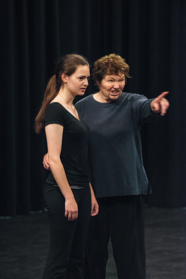 Packer works with Aryn Mello Pryor '16, as Troilus, on the opening monologue in Troilus and Cressida.