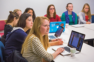 Emily Murphy '17 (foreground) and classmates during their first conversation with Saudi women. Photograph: Caitlin Cunningham