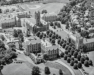 An aerial photograph of Middle Campus from the 1950s shows linden trees sporting the gumdrop look. Photograph: Courtesy of John J. Burns Library Archive