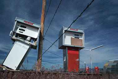Green River, Utah, 1987, as the old, leaded gasoline pumps were being retired. Photograph: © Phil Schermeister/Corbis