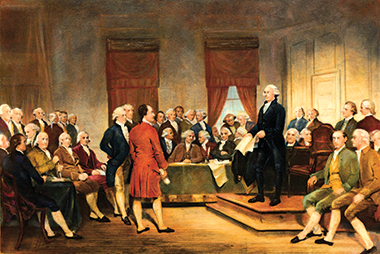 A scene from the Constitutional Convention, painted circa 1856 by Junius Brutus Stearns. Madison is seated fourth from left, paper on lap. Photograph: © AS400 DB/Corbis