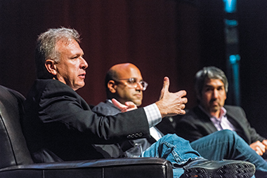 From left, Schiller, Shah, and Sabet discuss the leap of faith business. Photograph: Lee Pellegrini