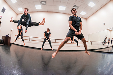 Rehearsing Get Low in the Brighton Dance Studio. Front row, from left: Gorelov and Arivudainambi. Back row: Patel, Shanbhag, and Parashar. Click image to enlarge.