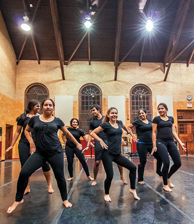Rehearsal in Brighton Dance Studio. From left are Patel, Shanbhag, Ratnaseelan, Arivudainambi, Craparotta, Shrivastav, and Parashar. Click image to enlarge.