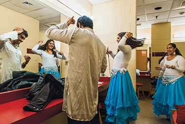 In the Robsham green room before Week of Dance dress rehearsal on December 2. From left: Arivudainambi, Patel, and Shrivastav. Click image to enlarge.