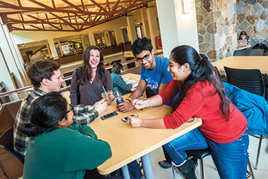 Late January, downtime in Corcoran Commons. From left: Ratnaseelan, Gorelov, Chin, Arivudainambi, and Shrivastav. Click image to enlarge.