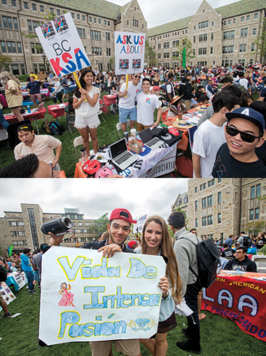 The Korean Students Association (top) and Latin dance troupe Vida de Intensa Pasión (of the Organization of Latin American Affairs), at the Student Involvement Fair on Stokes Lawn, September 4, 2015.
