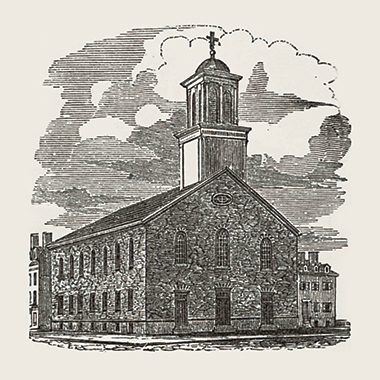 St. Mary's Church on Endicott Street in the North End, in the mid-19th century. Image: From Sketches of Boston, by Isaac Smith Homans, 1851. Click image to enlarge.