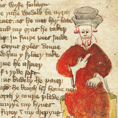 Sir Reason, in Piers Plowman: Can you sing in a church, / Or pile hay into stacks? From a 1427 rendering. Image: Bodleian Libraries, Oxford University