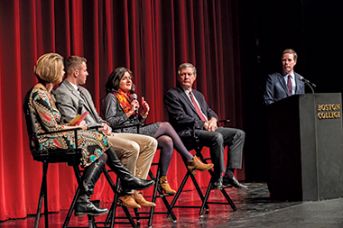 Speaking before a Robsham audience on November 27 were, from left, Professor Tiziana Dearing (social work), Sean Barry '21, Stephanie Sanchez MSW'18, and Professor Stephen Pope (theology). Ambassador R. Nicholas Burns '78, H'02, moderated. Image: Lee Pellegrini